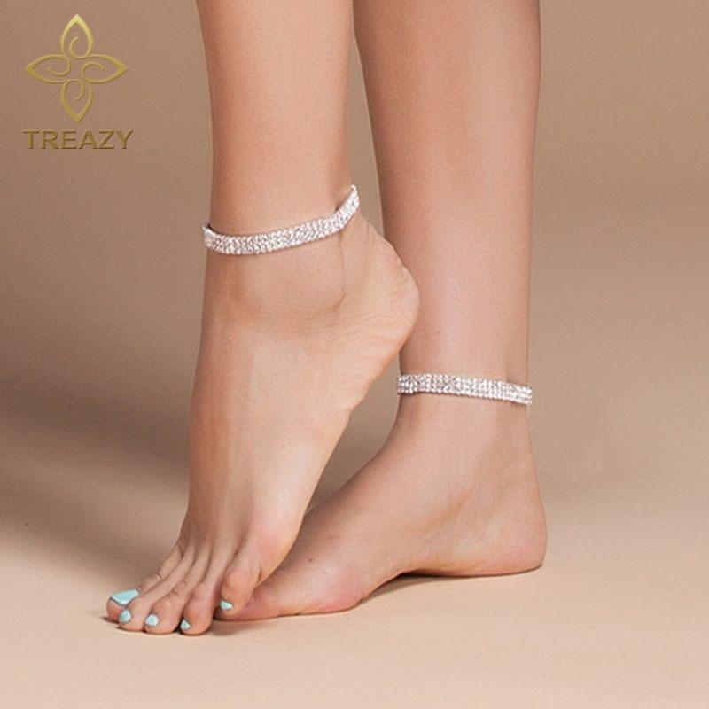 100% Wahr Treazy Silber Farbe Mode Stretch Fußkettchen 3 Reihe Kristall Ankle Armband Barfuß Sandalen Pulseras Tobilleras Mujer Fuß Schmuck Kaufen Sie Immer Gut