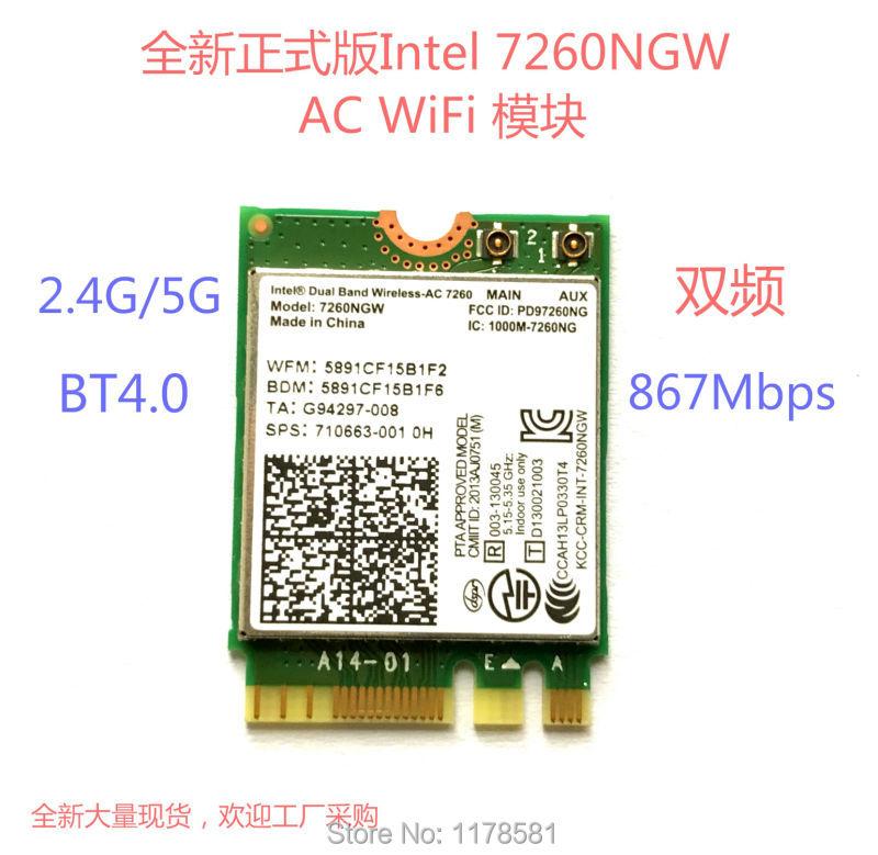 For Intel Dual Band 7260 7260NGW Wireless-AC NGFF 2x2 802.11ac 867Mbps Wifi+Bluetooth BT 4.0 Wireless Wlan M.2 Card