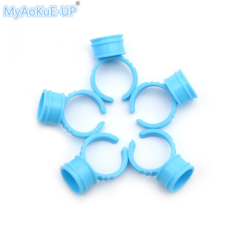 500pcs/lot Disposable Eyebrow Tattoo Pigment Container Eyelashes <font><b>Makeup</b></font> Tools <font><b>Blue</b></font> White Medium Small Ring <font><b>Cup</b></font>