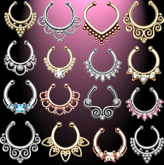 Wholesale and retail Surgical Steel Zircon Fake Nose Ring Hoop Ring Nose Body Jewelry Fake Septum Rings Piercing 60 pcs/lot цена