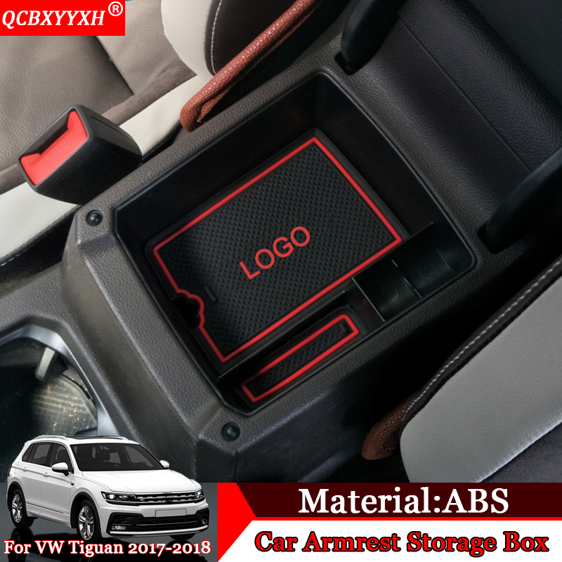 QCBXYYXH Car-styling Car Center Console Armrest Storage Box Covers Interior Decoration Auto Accessories For VW Tiguan 2017 2018 1pc car center console armrest box sticker decal wrap guard protector cover for tesla model s model x auto interior accessories