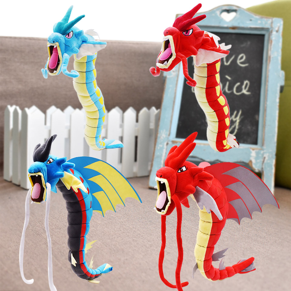 56-59cm 23-23.2'' Mega Gyarados Plush Toy Shiny Gyarados Red And Blue Dragon Soft Stuffed Doll Peluche Animal Cartoon Anime