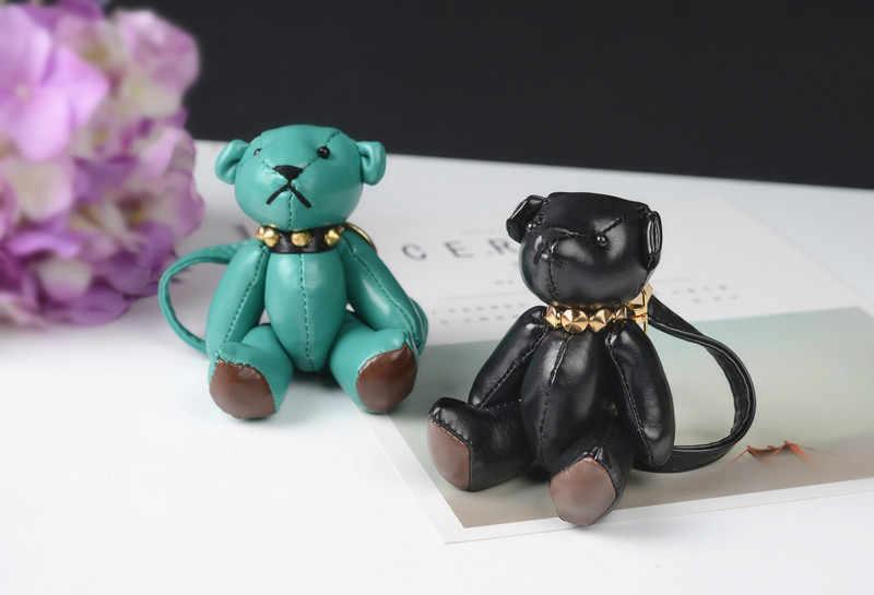 Felyskep novo estilo chaveiro de couro mini urso chaveiro para as mulheres saco charme carro pingente chaveiro A-001