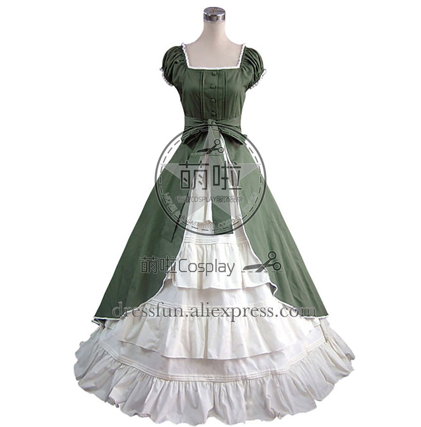 Colonial Cosplay Lolita Green Dress Ball Gown Prom With Bowknot Belt And Sweet Ruffles Decorated Beautiful For Halloween Fashion