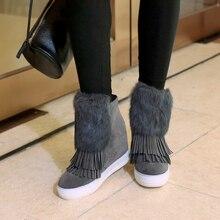 LVABC  2018 Brand Women Ankle Boots Suede Leather Fashion Fur Zipper Wedges Shoes Woman Platform Winter Boots Female Footwear