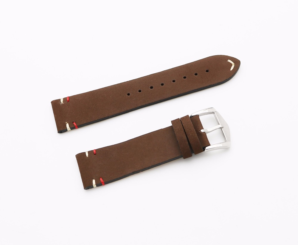 20 22mm Newest Men Woman Real Cowhide Suede Leather Brown VINTAGE Wrist Watch Band Strap Belt Silver Polish Pin Buckle Best Gift cowhide leather belt watch men and women watch accessories butterfly buckle strap watch band waterproof