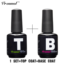 Vrenmol 15ml Nail Gel Top Coat Top it off + Base Coat Foundation for UV Gel Polish Non Cleansing Top and Base Coat Primer