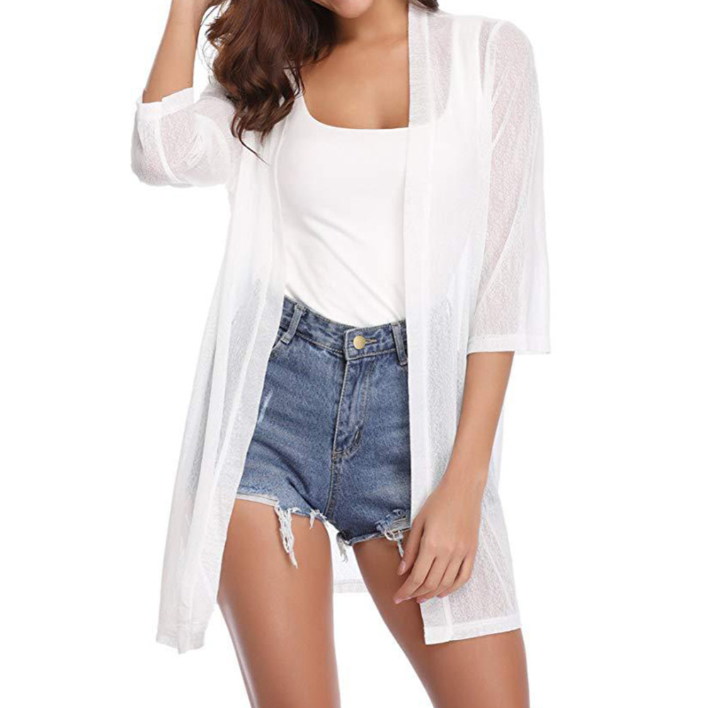 Blouses & Shirts Impartial Summer Cardigan Womens 3/4 Sleeve Cardigan Swimwear Bikini Swimsuit Beach Cover Up Open Front Cardigan Mesh Boho Tops 2019 Blusa