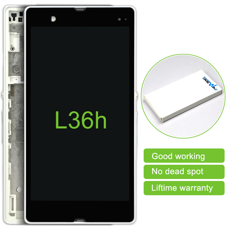 2 pcs LCD Display with Touch Screen Digitizer +Frame For Sony Xperia Z L36 L36i C6602 C6603 free shipping