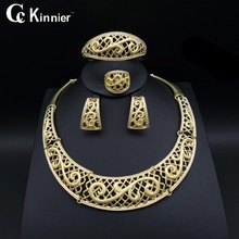 Fashion Women wedding jewelry sets shiny African beads Dubai gold-color exaggerate Bridal Necklace Bangle tassel earrings Ring fashion women bridal dubai gold plated wedding jewelry sets african beads accessories exaggerate necklace bangle earrings ring