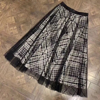 Новая стильная женская клетчатая трапециевидная Юбка элегантная 2019 роскошная юбка Женская высокая модная клетчатая юбка длинная Высокока