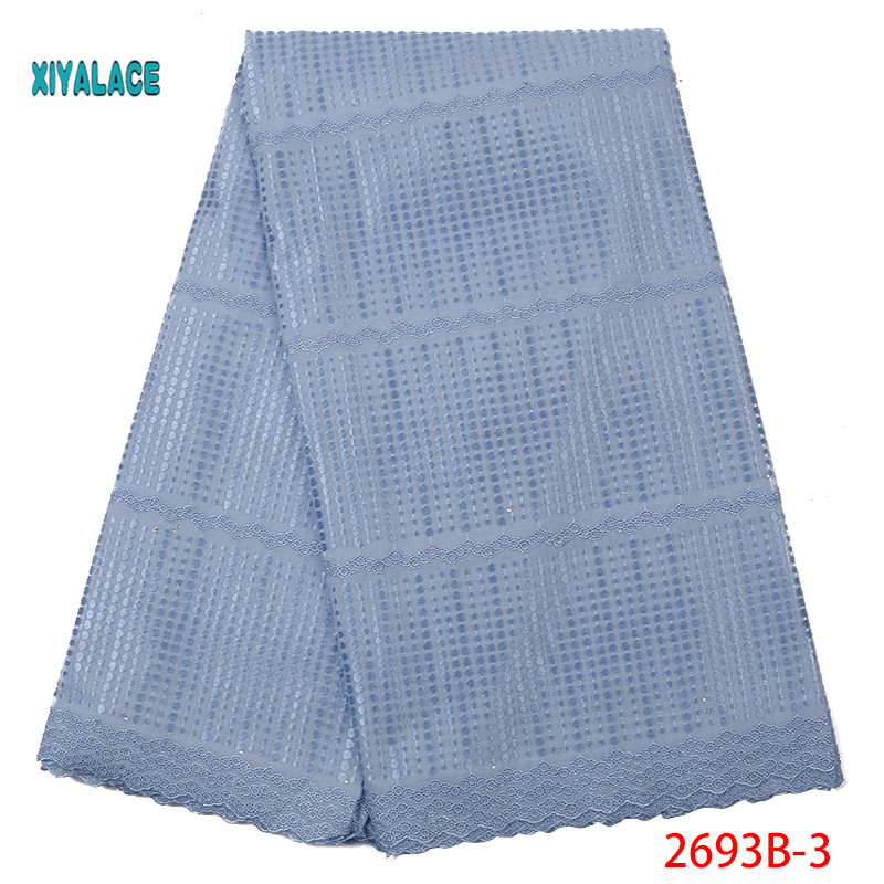 Light Blue High Quality Swiss Voile Lace In Switzerland Pretty100% Cotton Swiss Voile Laces For African Sewing Dress YA2693B-3