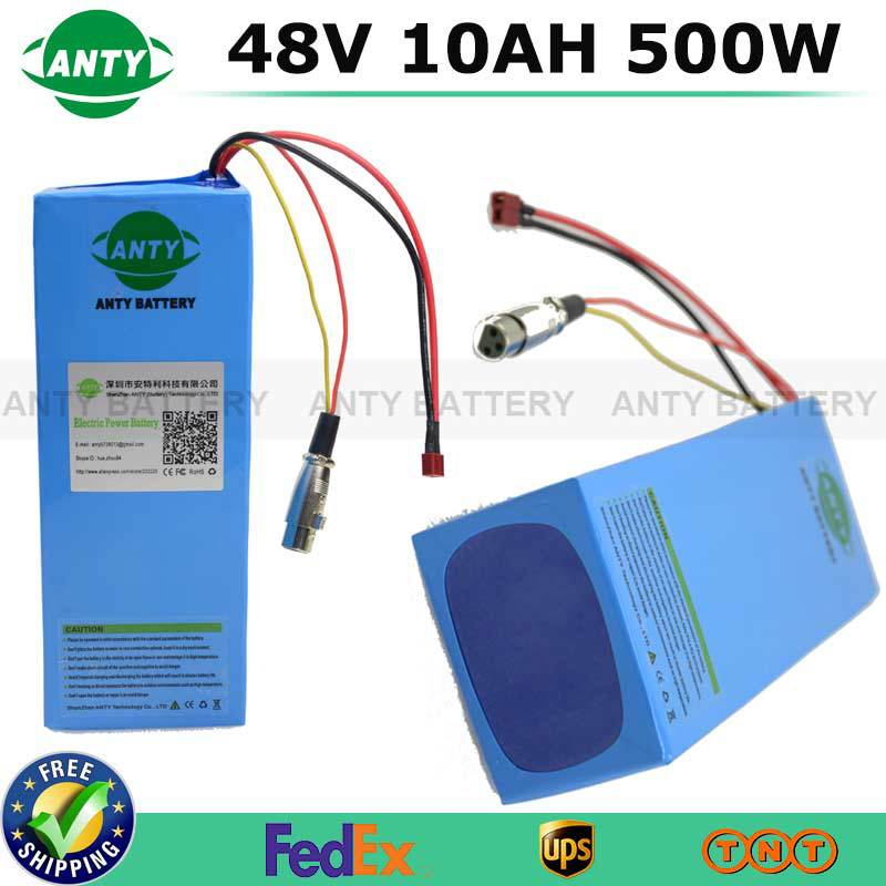 eBike Battery 48V 10Ah 500W Lithium Battery Pack With 54.6V 2A Charger 15A BMS Electric Bicycle 18650 Rechargeable Battery Pack free customs taxes ebike battery 48v 40ah 2000w electric bicycle lithium battery pack with charger and 50a bms