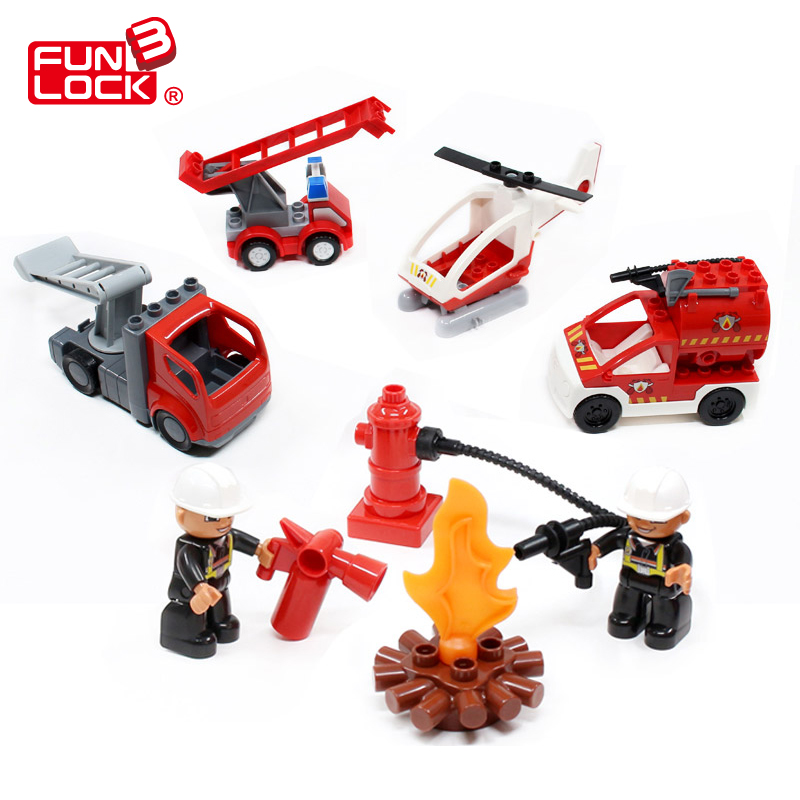 Funlock Duplo Building Blocks Toys Figures Fireman Firefighter Set for Kids Funny Creative Educational Bricks Gift for Children funlock duplo blocks toys farm animal figures bunny cat dog cow pony pig sheep rooster educational toys for kids gifts