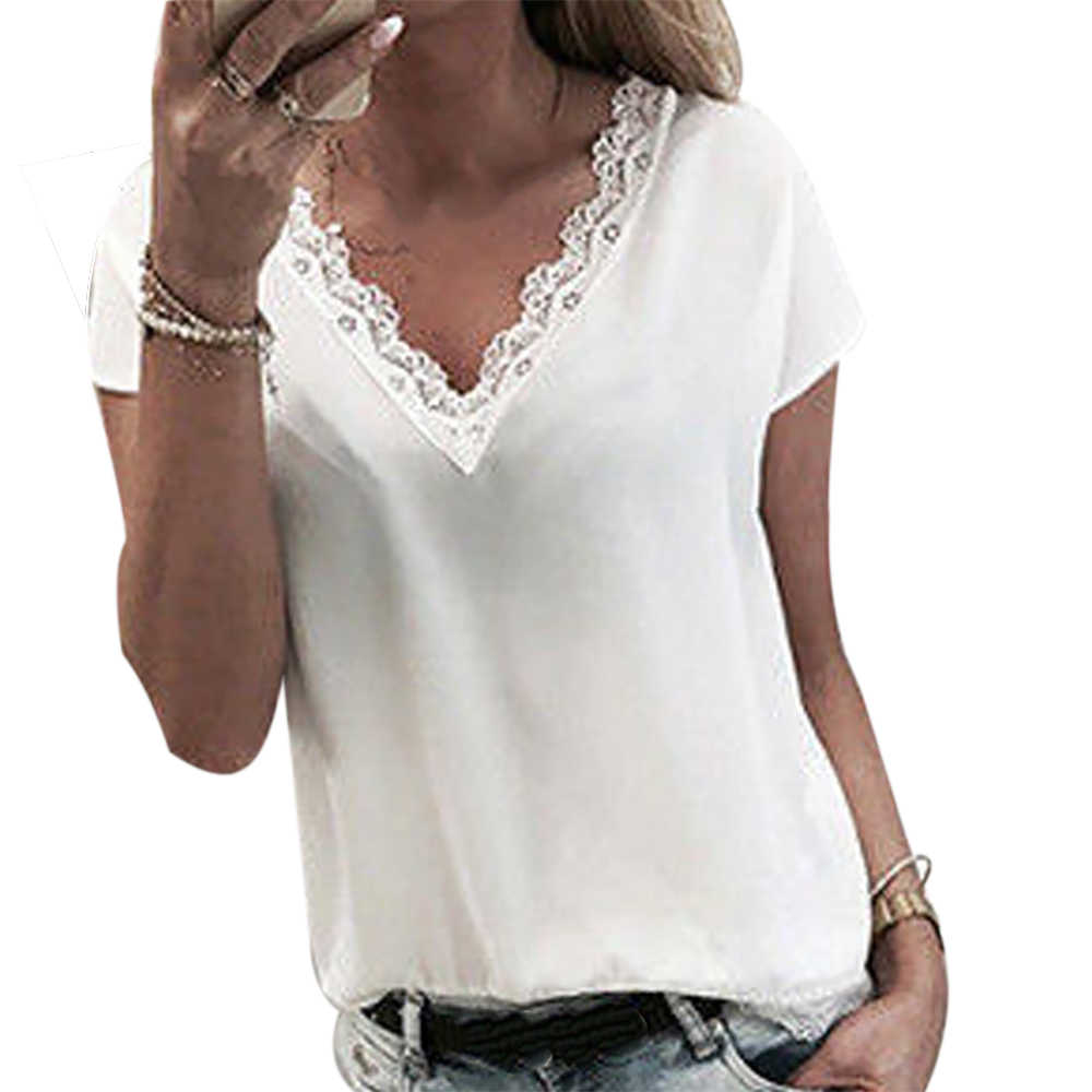 2019 Women Plus size 5XL lace Blouse Tops Summer Casual Loose Short Sleeve Solid Lace V-neck Chiffon Tops Female Shirts Vest