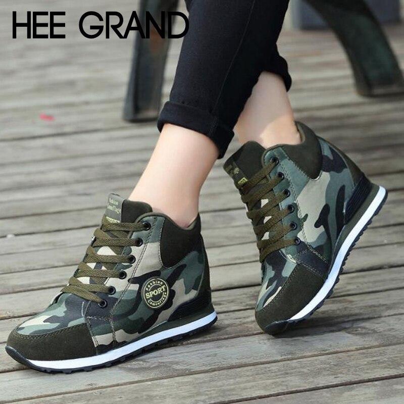 Botas de tobillo cálidas de mujer de moda de camuflaje con cordones botas de mujer de altura creciente zapatillas de deporte Booten XWX7133