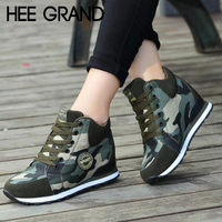 HEE GRAND Women Warm Ankle Boots Fashion Lace up Camouflage Bootie Women Height Increasing Footwear Sneakers Booten XWX7133