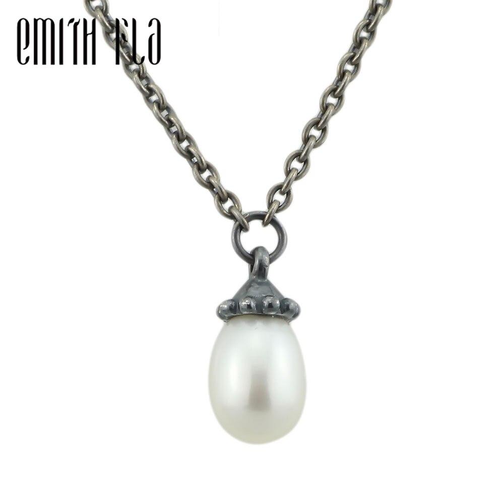 Emith Fla 925 collier en argent Sterling femmes cadeau collier avec pendentifs véritable collier de perles bijoux rétro Bracelet perles breloque