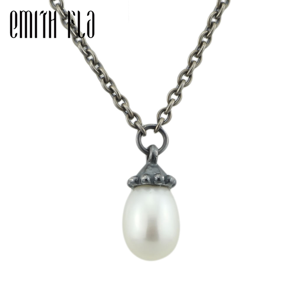 Emith Fla 925 Sterling Silver Necklace Women Gift Necklace With Pendants Real Pearl Necklace Jewelry Retro Bracelet Charm Beads