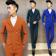 ( suit jacket + pants ) 2016 Male boutique high-end brand double-breasted business suits / Men's pure color Slim leisure suits
