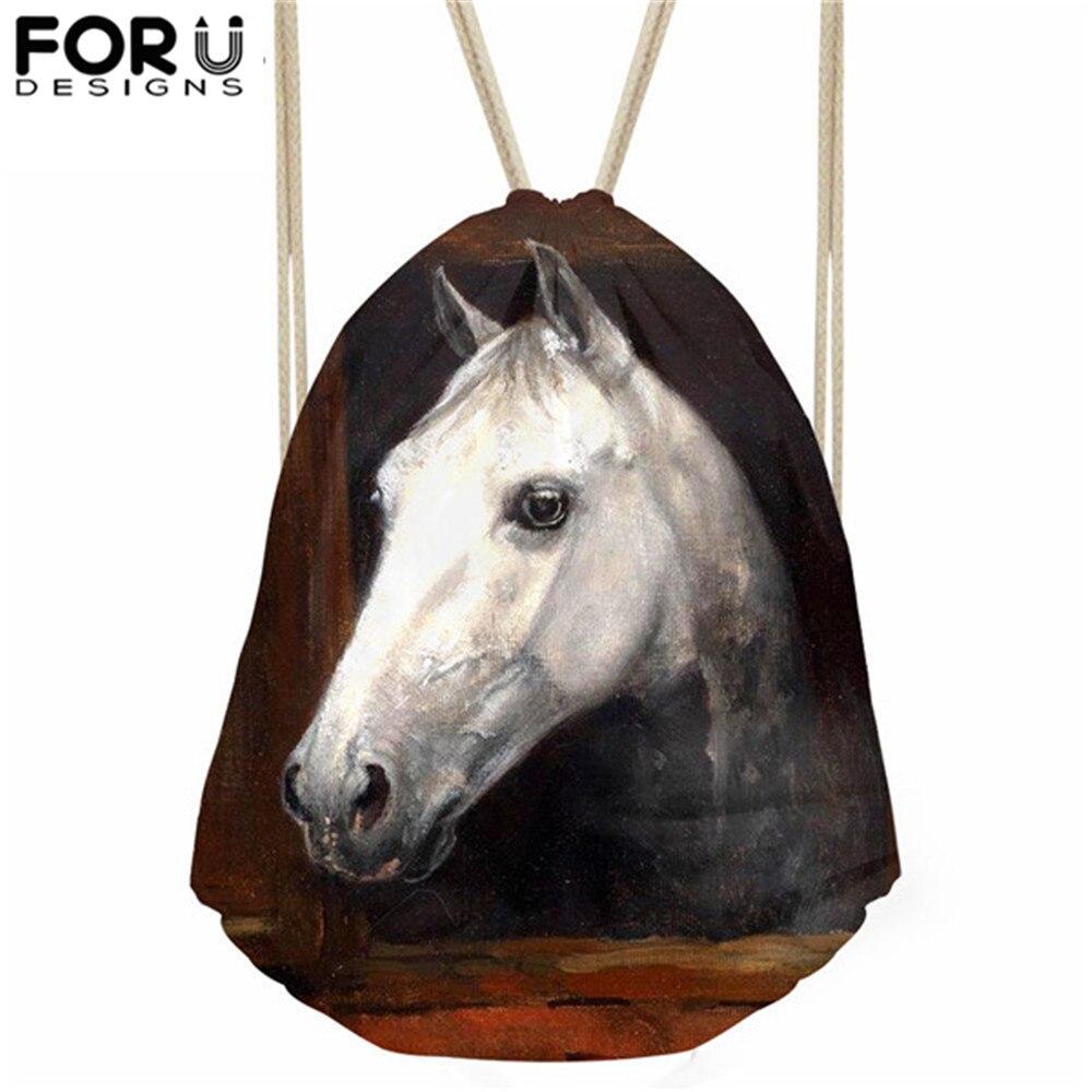 FORUDESIGNS Crazy Horse Prints Drawstring Bags Boys Casual Schoolbags Backpack Men Mochila Sport Cinch Fitness Bags Mochila Saco