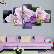 With framed 5 Panel wall art flowers print canvas painting home decoration abstract Landscape Modular Picture A40