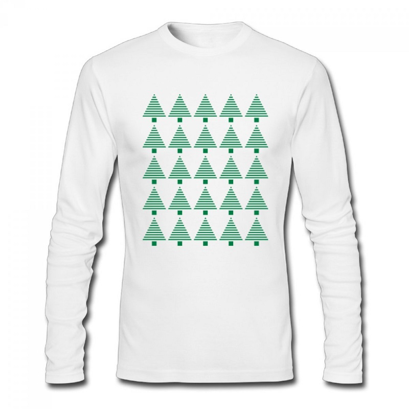 2017 Christmas Trees DIY T Shirt O-Neck Long Sleeve T Shirts For women Winter Autumn Christmas Gifts Cotton Tees