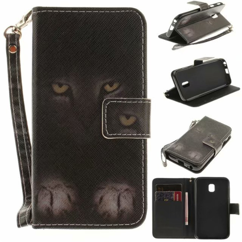 Flip Wallet Case For Samsung Galaxy J330 J3 2017 European Edition Cases Coque Owl Tiger Lion Painted PU Leather Phone bags Cover