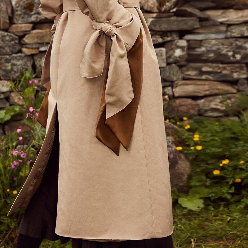 Vero Moda 19 new windshield design cuffs decorated british long trench coat | 318321508 23