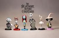 6 pz/set The Nightmare Before Christmas Jack Skellington Sally Blocco Cilindro 5-7 cm PVC Action Figure Giocattoli di Modello regali di Raccolta