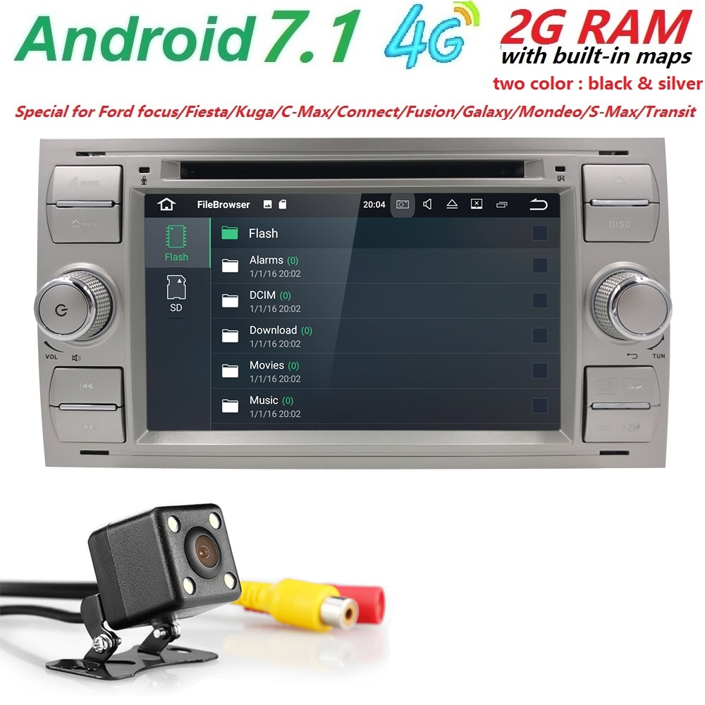 Quad Core AutoRadio 2 din Android 7.1 Car DVD Multimedia Player For Ford Focus 2 3 Mondeo S C Max Fiesta Galaxy Car Audio Wifi
