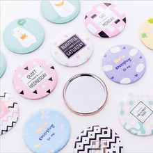 Makeup Mirror Cosmetic Compact-Pocket Round Cartoon-Pattern Portable Small for Women