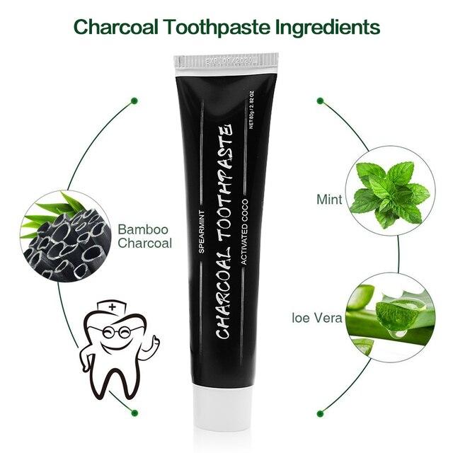 Bambú carbón activado dientes blanqueamiento pasta de dientes negro higiene bucal 80g