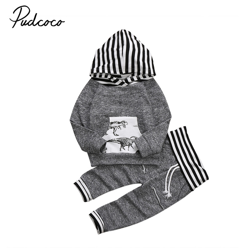 Baby Boy Clothing Set 2PCS Baby Girls Clothes Newborn Striped Hooded Long Sleeve Tops+Pants Winter Fall 2017 Outfit Clothing Set