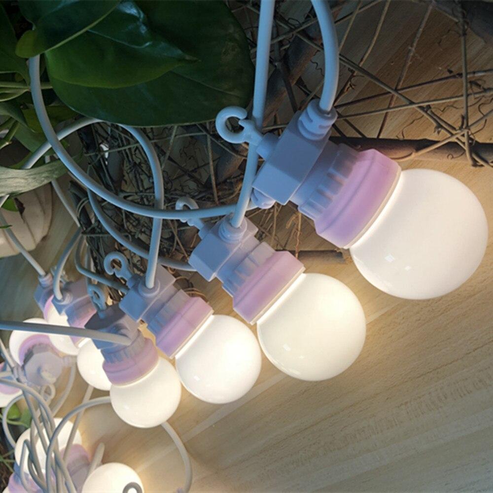 VNL IP65 G50 Cable blanco y negro, cadena de luces LED de bola lechosa para interiores y exteriores, guirnalda de luces de boda, guirnalda de Navidad para fiesta y Patio