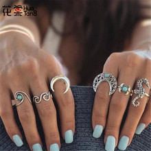 HuaTang 6pcs/1set Vintage Ocean Style Sea Horse Knuckle Finger Rings Set for Women Rhinestone Moon Hollow Wave Midi 4023