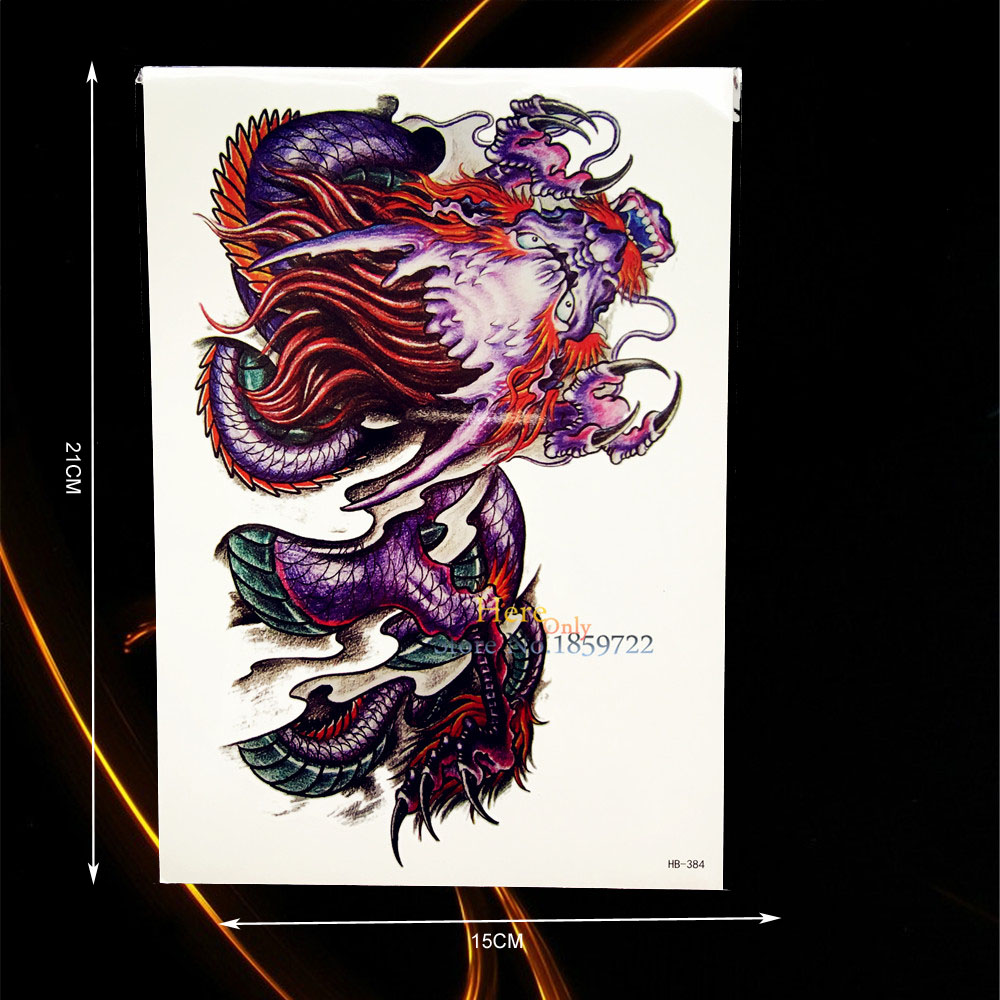 c3555ecd35e26 Large Dragon Tattoo Sleeve Men Women Body Chest Art Waterproof Back Decals  Tempoary Chinese Dragon Design Tattoo Stickers HHB384-in Temporary Tattoos  from ...