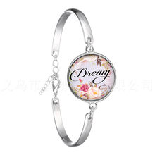 Wish,Dream,Love,Hope,Believe Art Letter Printed Glass Cabochon Chain Bracelet For Women Men Quote Jewelry Gift For Christian(China)