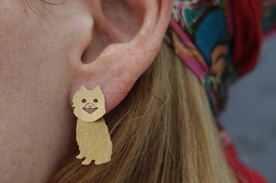 Pom Earrings Pomeranian Jewelry Dog Lovers Gift Gold Dog Ear Jacket Dog Stud Front Back Earrings Pomeranian Earrings