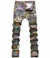 2017 Luxury Vintage Print Man Jeans New Designer ClassicDenim Trousers