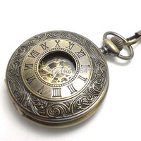 20pcs Lot Hot Sale Top Quality Bronze Double Open Mechanical Pocket Watch Flip Black Roman Dial