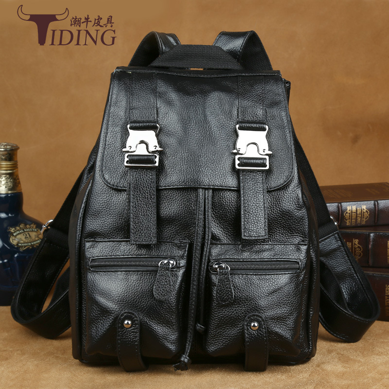 TIDING Luxury Genuine Leather Solid Color Litchi Women Backpack School Bags Vintage Style Travel Luggage Bag Backpack tiding luxury genuine leather solid black color backpack vintage style student bag travel luggage bag backbag