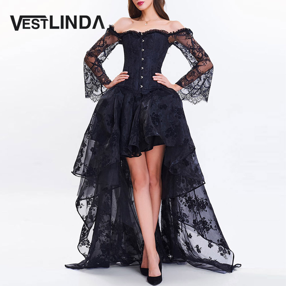 VESTLINDA Women Evening Black Party Dresses 2017 Vestidos Sexy Off Shoulder Short Front Long Back Lace Corset Robe Female Dress