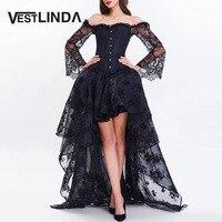 VESTLINDA Women Evening Black Party Dresses 2017 Vestidos Sexy Off Shoulder Short Front Long Back Lace