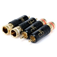 4pcs Gold Plated Copper RCA WBT Plug Adapter Screws Tighten Type Soldering Audio Video RCA Connector