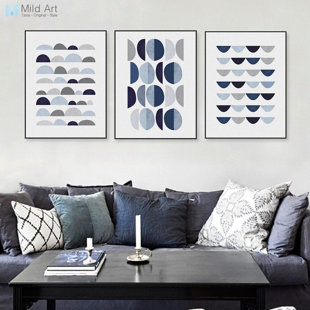 Modern Abstract Blue Geometric Shape A4 Art Print Poster