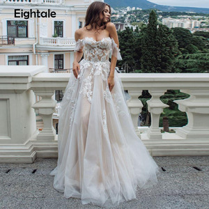 Image 4 - Eightal boho 웨딩 드레스 비치 아가씨 어깨 공주 웨딩 드레스 아플리케 레이스 tulle romatic bridal dress