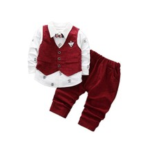 цена на Children Boys Girls Clothing Sets Spring Autumn Baby Cotton Vest Shirt Pants 3pcs/Sets Infant Gentleman Bow Tie Casual Suits