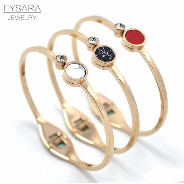 00e6c33b1eb FYSARA White/Black/Red Natural Stone Bracelet & Bangle For Women Boho  Jewelry Round Crystal Bangle Rose Gold Lover Cuff Pulseira
