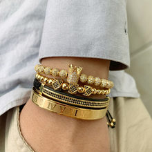 3pcs/set Gold Luxury CZ crown Charm beads bracelet stacks handmade Macrame men bracelets & bangles for Men Jewelry accessories(China)